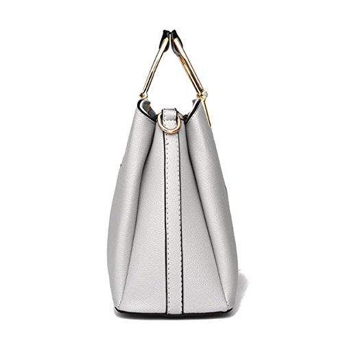 Mode Mosaik Satchel Für Frauen Pu-leder Schultertasche Handtasche Einkaufstasche Multicolor Grey2