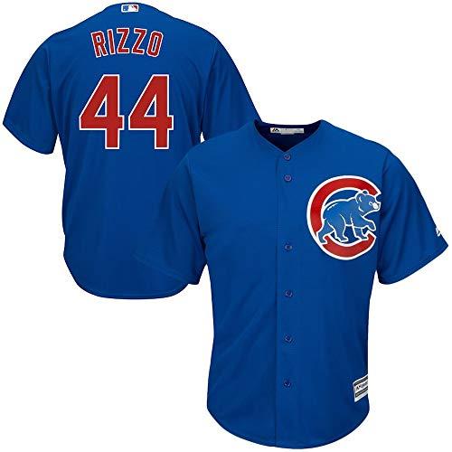YQSB Jersey Baseball Major League Baseball Chicago Cubs # 44 Rizzo Bestickter Baseball,Blue,Men-XXL -