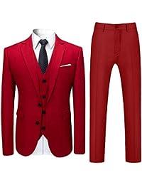 competitive price 6adf4 5a75a Costume Trois-pièces Homme Veste+Gilet+Pantalon de Couleur Unie Business  Mode Slim