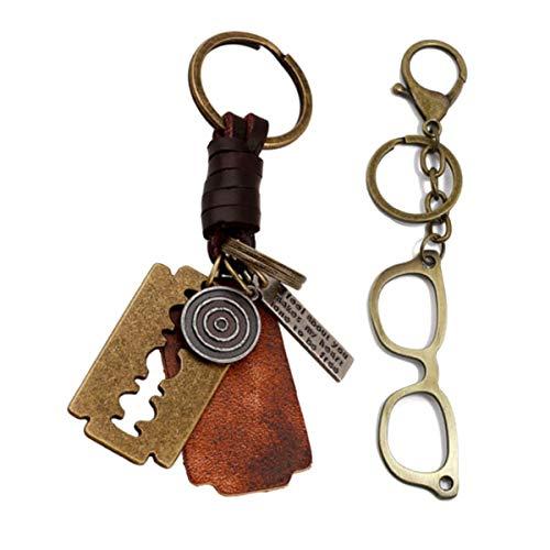Ukerdo Retro Brille Frames Schlüsselanhänger Metall Weberei Handtasche Geldbörse Anhänger Schlüsselanhänger - 2 PCS