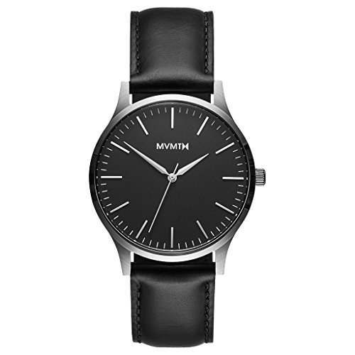 MVMT Watches 40 Series Herren Uhr Black/Silver Leather