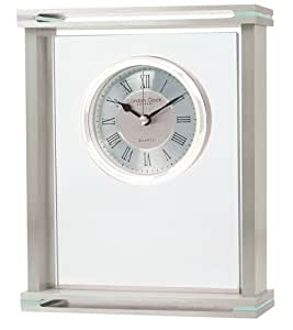 London Clock brushed Silver Finish Metal and Glass mantle Clock