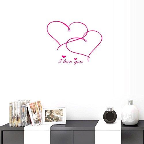 BIBITIME Valentinstag Wall Decals für Paar Aufkleber für Freundin Schlafzimmer Liebhaber Reference Rose Double Hearts I Love You