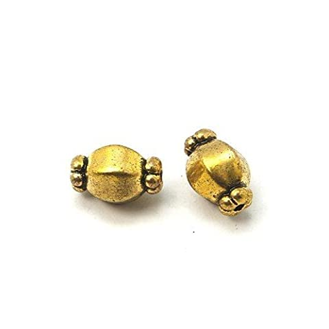 Packet of 20 x Antique Gold Tibetan 7 x 10mm Barrel Spacer Beads - (HA15295) - Charming Beads