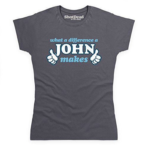 What A Difference A John Makes T-Shirt, Damen Anthrazit