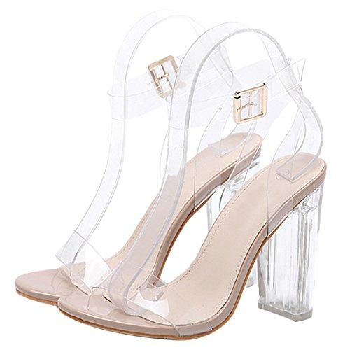 QIYUN.Z Frauen High Heel Peep Toe Süßigkeiten Farbe Knöchelriemen Schuhe Transparente Sandalen