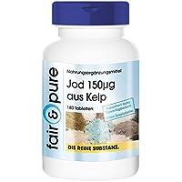 Jod 150µg aus der Braunalge Kelp, aus dem Nord-Atlantik (Frankreich), vegan, ohne Magnesiumstearat, 180 Jod-Tabletten