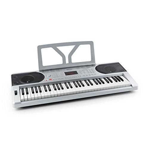 Schubert Etude 300 Home-Keyboard 61 Tasten Keyboard (anschlagdynamisch, 300 Stimmen, 300 Rhythmen, 50 Demos, abnehmbarer Notenhalter) silber