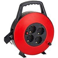 Aigostar 177430 - Cable de alimentación de bobina enrollable de 10 metros y 4 enchufes