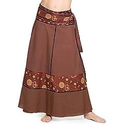 ufash Falda cruzada - falda maxi de la India, con lazos, Om marrón