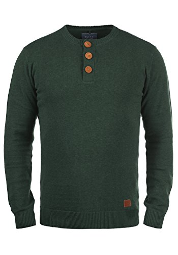 Blend Leonardo Herren Strickpullover Feinstrick Pullover Mit Rundhals Und Knopfleiste, Größe:M, Farbe:Pine Green (77023)