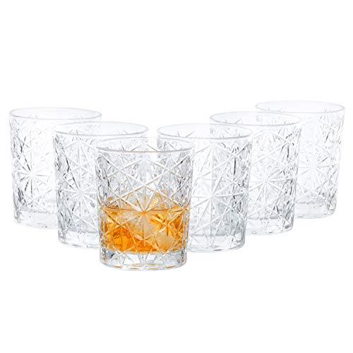 Van Well 6-tlg. Gläserset Lounge | Bormioli Rocco | 390 ml | Double Old Fashion Glas für Whisky, Drinks & Cocktails | Partyglas | Barock-Design | 60er-Jahre