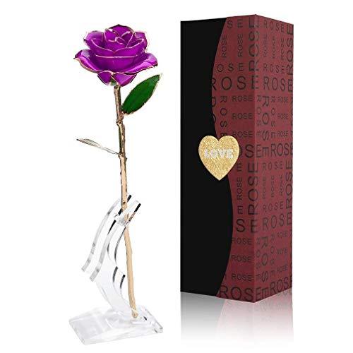 Rosa 24K chapado en oro Flor Rosa con Soporte Transparente y caja de regalo El mejor regalo para el día de San Valentín, el día de madre, aniversario o regalo de cumpleaños (Flor púrpura con soporte)