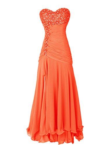 Dressystar Robe femme, Robe de soirée/ Cérémonie longue,Col en Cœur,Perles,en Mousseline Orange