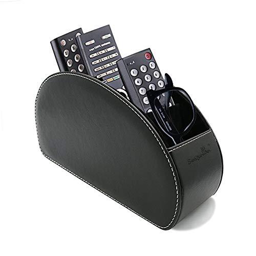 PU Leder TV Stift Bleistift Remote Organizer mit 5 Geräumigen Fächern für Wohnzimmer und Büro (027-schwarz) ()