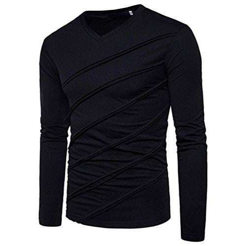 Herren Sweater,Honestyi Männer Herbst Winter Langarm Solid Sweater Tops Falten Geraffte Bluse (XS, Schwarz) -