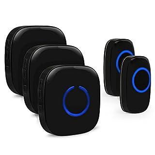Drahtlose Funkklingel Set, ELEPOWSTAR IP55 Wasserdicht Kabellose Türklingel, Wireless Doorbell, Tür Klingel für Haus/Büro/Garten (2 Sender & 3 Empfänger schwarz)