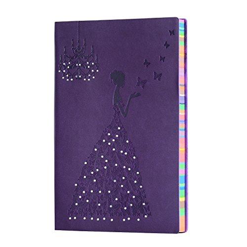 Tagebuch Notizbuch,Leder Notizbuch A5 Besprechungsbuch, Gefüttert Klebebindung Cover Schmetterling Princess Reisetagebuch Notizblock Klassisches Geprägtes Skizzenbuch zum Zeichnen und Schreiben (Lila) (Tagebuch Lila)