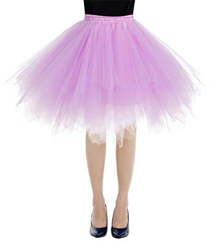 Bbonlinedress Kurz Retro Petticoat Rock Ballett Blase 50er Tutu Unterrock Lavender L