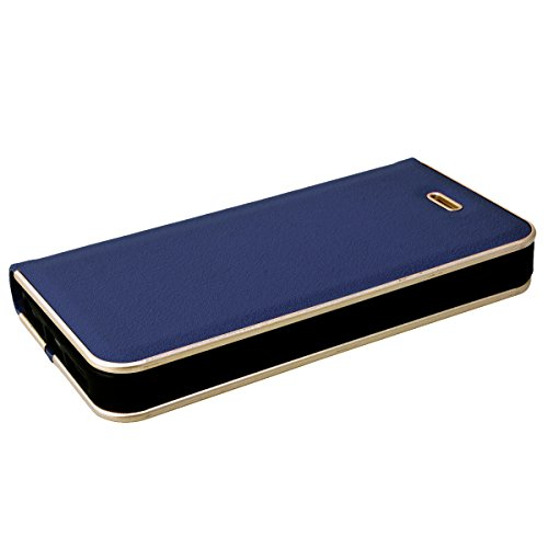 SMART LEGEND Lederhülle für iPhone SE 5 5S Ledertasche Hülle Braun Metall Rahmen Schutzhülle Premium PU Leder Flip Case Protective Cover Innere Weiche Silikon Bookcase Handy Tasche Schale mit Kartenfä Blau