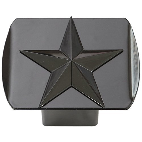 Texas Lone Star 3d Black Emblem on Black Trailer Metal Hitch Cover Fits 2 Receivers by LFPartS - Hitch Receiver Cover