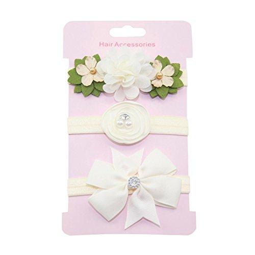 Haarnadel, erthome 3Pcs Kinder Blumen Stirnband Mädchen Baby Bowknot Hairband Set Haar Clips (Beige) (Blumen-mädchen-socken)