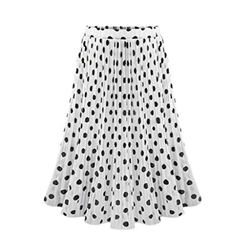 Hem Midi Skirt (Bibao Damen Polka Dot Pleated High Waist Bridesmaid Swing Hem Midi Skirt, XL, weiß, 26910)