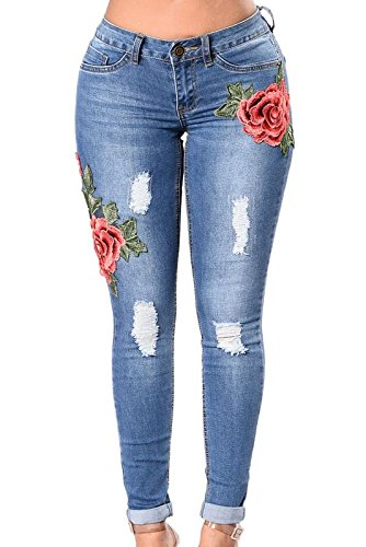 Digital Dress Room Rose Embroidered Blue Whisker Distressed Jeans for Women and Girls