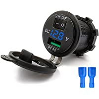 YGL Impermeable Carga rapida Cargador USB QC3.0 para Coche Motorcyle, Salida USB 2.1A con Pantalla de voltaje y Switch (Azul)