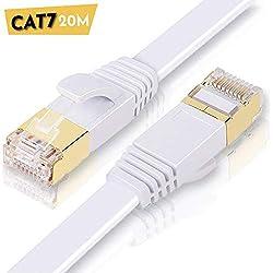 ULTRICS Câble Ethernet 20 Mètres, Haute Vitesse 10Gbps STP 600MHz Plat Cable Internet, Cat7 RJ45 Fiche Plaquée Or Câbler Réseau Compatible avec Routeur, Modem, Switch, TV Box, PC, Xbox, PS4 - Blanc