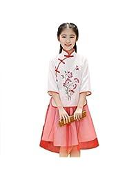 ZooBoo - Vestido Chino Cheongsam Blusa – Tradicional Mujer Manga Corta  Floral Vintage Boda Noche Baile Casual Cosplay Estilo Vestido… d3ce8da99b54