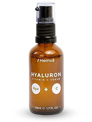 Vitamin C Serum mit Hyaluronsaeure Anti Age Gel von Hemvå - Speziell fuer Frauen - Gegen Falten Serum fuer das Gesicht, Hals & Dekolleté - #1 Anti Age Gel, auch gegen Altersflecken. (hochdosiert, 50ml)