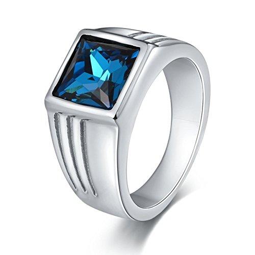 Herren-quadrat-muster-schal (Bishilin Edelstahl Ring Herren mit Quadrat Blau Zirkonia Breite 10 MM Vintage Silber Ring Freundschaftsring Größe 62 (19.7))