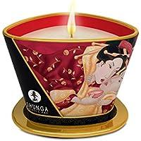 Shunga Vela de Masaje Romance, Aroma de Vino Espumoso con Fresas, Color Blanco - 170 ml