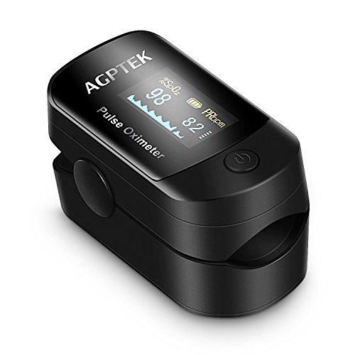 Pulsoximeter, Blutsauerstoffsättigung Monitor und Pulsmesser mit OLED-Display, Alarm und Auto-Off-Funktion usw., von AGPTEK, Schwarz