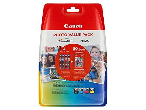 Preisvergleich Produktbild CANON CLI-526 Vorteilspack Blister 4x6 Foto Papier PP-201 50 Blatt + Cyan Magenta Gelb & Schwarz Tintentanks