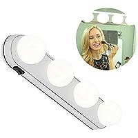 leegoal Miroir de courtoisie de LED s'Allume, Vanity Maquillage léger Super Bright avec 4 LED Lampes Design sans Fil Piles pour Salle de Bain, Maquillage Coiffeuse