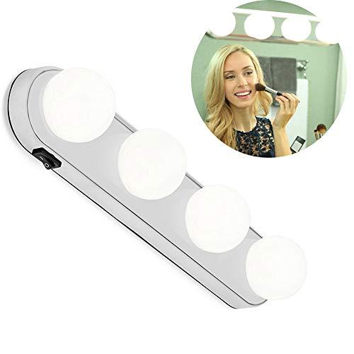 leegoal Luces LED para Espejo de tocador, luz de Maquillaje súper Brillante con 4 Bombillas LED de diseño inalámbrico Alimentado por batería para baño, tocador de Maquillaje