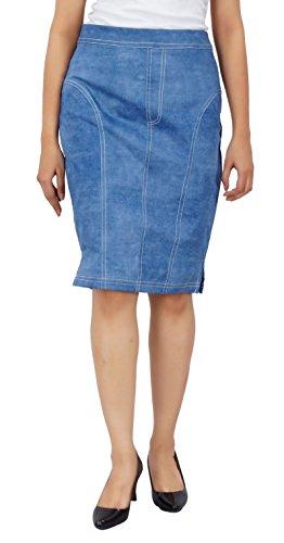 Bimba womens jupes crayon de denim longueur genou jupe sur mesure Bleu