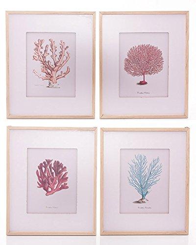 Dikasa home set quadretti con stampe coralli, legno, multicolore, 40x2x48 cm