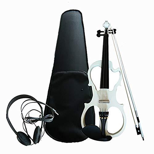 Elektrische Violine 4/4 Alle handgefertigten Massivholz Violine Elektronisches Musikinstrument Anfänger Erwachsenes Kind (mit Kopfhörer, Box, Bogen, Riemen),White
