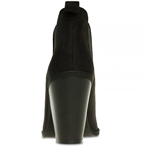 CASPAR SBO080 Damen Chelsea Boots Stiefeletten Schwarz