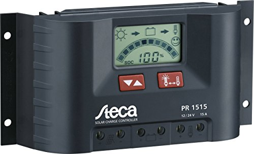 Steca PR1515 Solarladeregler mit LCD Display und Lastausgang für 12V Verbraucher bis 15A