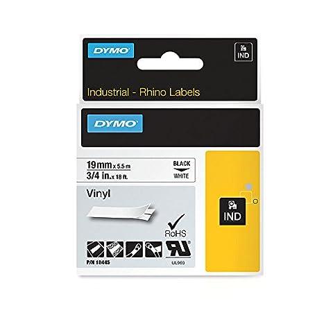 Dymo 18445 Rhino Vinyl Industrial Labels, Self-Adhesive - 19 mm x 5.5 m Roll, Black Print on White