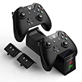 YCCTEAM Chargeur pour Manette Xbox One avec Batteries Rechargeables, Station d'accueil de Charge Rapide à Deux emplacements avec Batteries (2 x 1200 mAh)