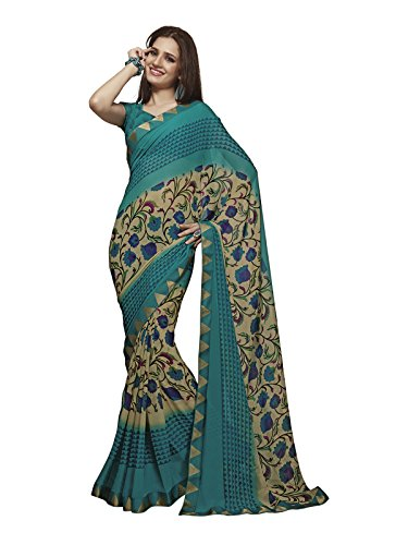 Subhash Sarees Turquoise and Beige Color Georgette Printed Saree  available at amazon for Rs.1449