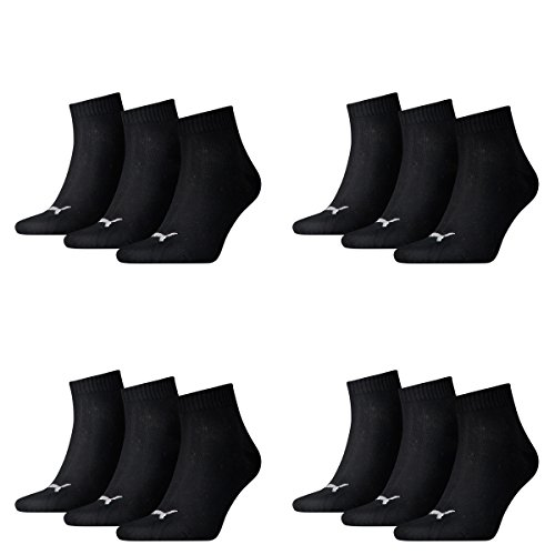 12 Paar Puma Unisex Quarter Socken Sneaker Gr. 35 - 49 für Damen Herren Füßlinge, Farbe:200 - black, Socken & Strümpfe:43-46