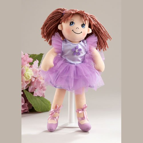 Delton Products Ballerina Doll Soft Cloth Doll with Purple Removable Clothes, Yarn Hair, 14 (Doll Ballerina Soft)