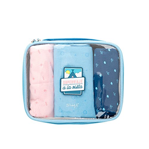 Mr. Wonderful Superviaje A La Vista Organizador para Maletas, 20 cm, Azul