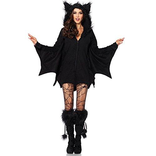 Cosfun Damen Kostüm für Karneval Halloween Fledermaus Hexe Cosplay (Sexy Kostüme Halloween Meine)